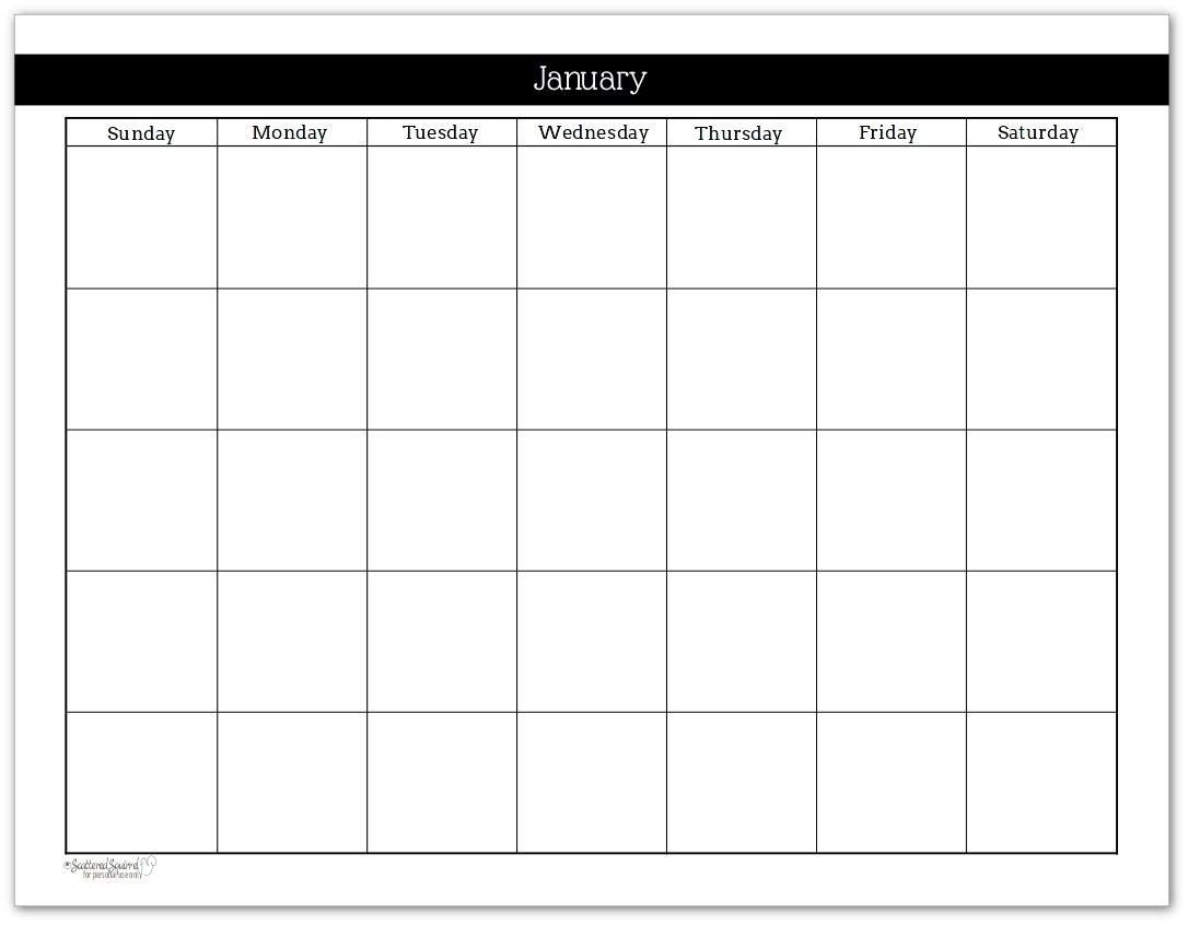 Monthly Calendar No Dates • Printable Blank Calendar Template throughout Blank Calendar Mon Through Fri With No Dates Or Month