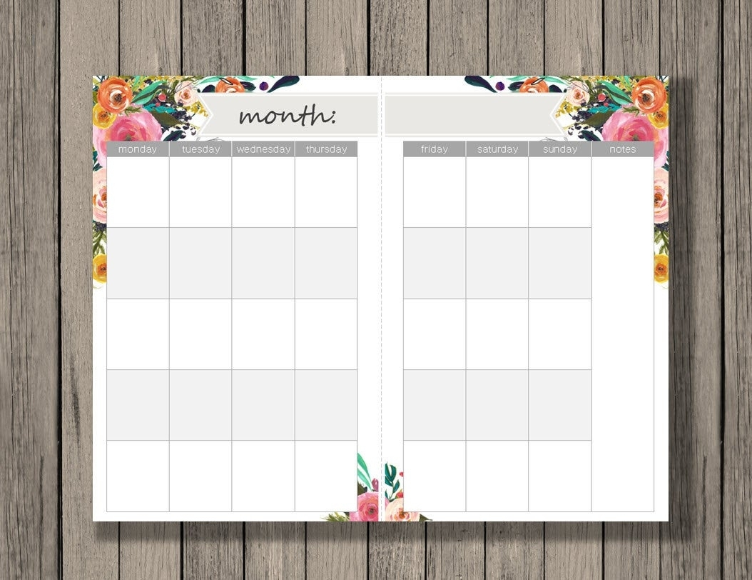 Monthly Calendar Printable, A5 Size, Monthly Calendar Across 2 Half with regard to Half Page Monthly Calendar Printable