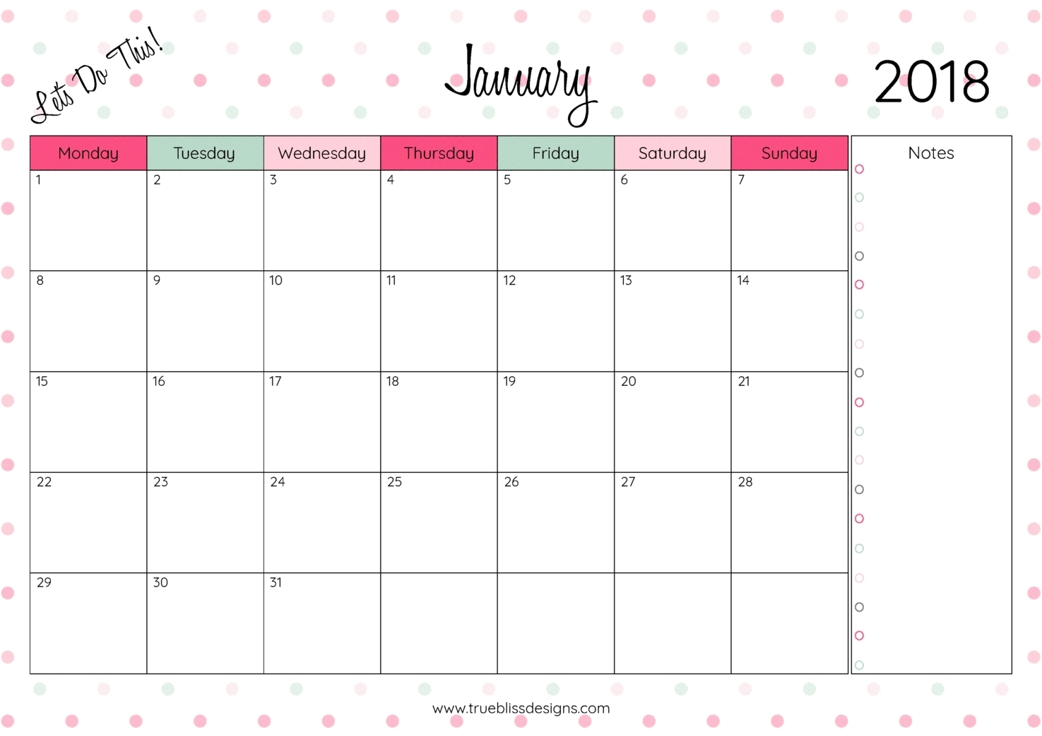 Monthly Calendar Printable Template Notes Column | Template Calendar throughout Monthly Calendar Printable Template Notes Column