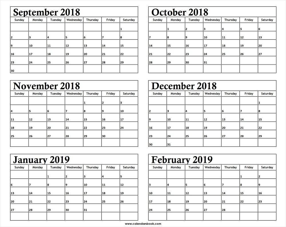 Monthly Calendar Sep Oct Nov Dec 2018 Jan Feb 2019 Template pertaining to Month Calendar Printable Sept Oct Nov Dec