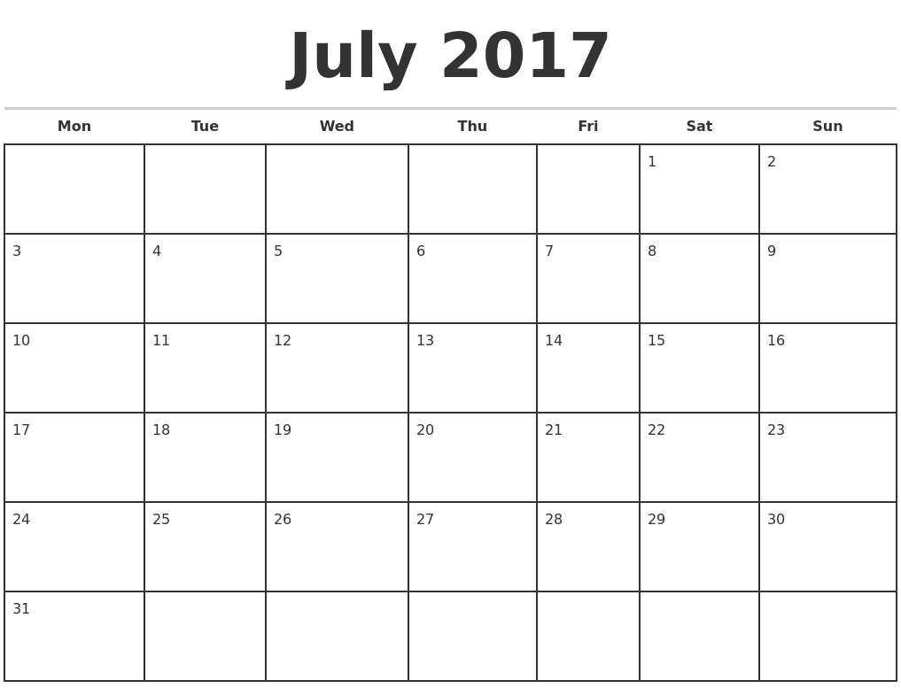 Monthly Calendar Starting With Monday | Year Printable Calendar in Blank Monthly Calendar Monday Start