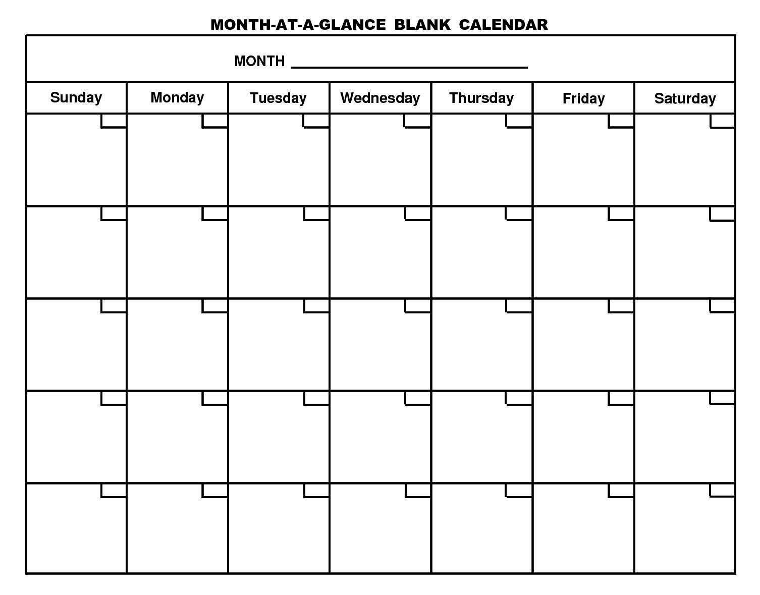 Monthly Calendar Template Uxdjxg In Month At A Glance Blank Calendar intended for Template For Calendar By Month