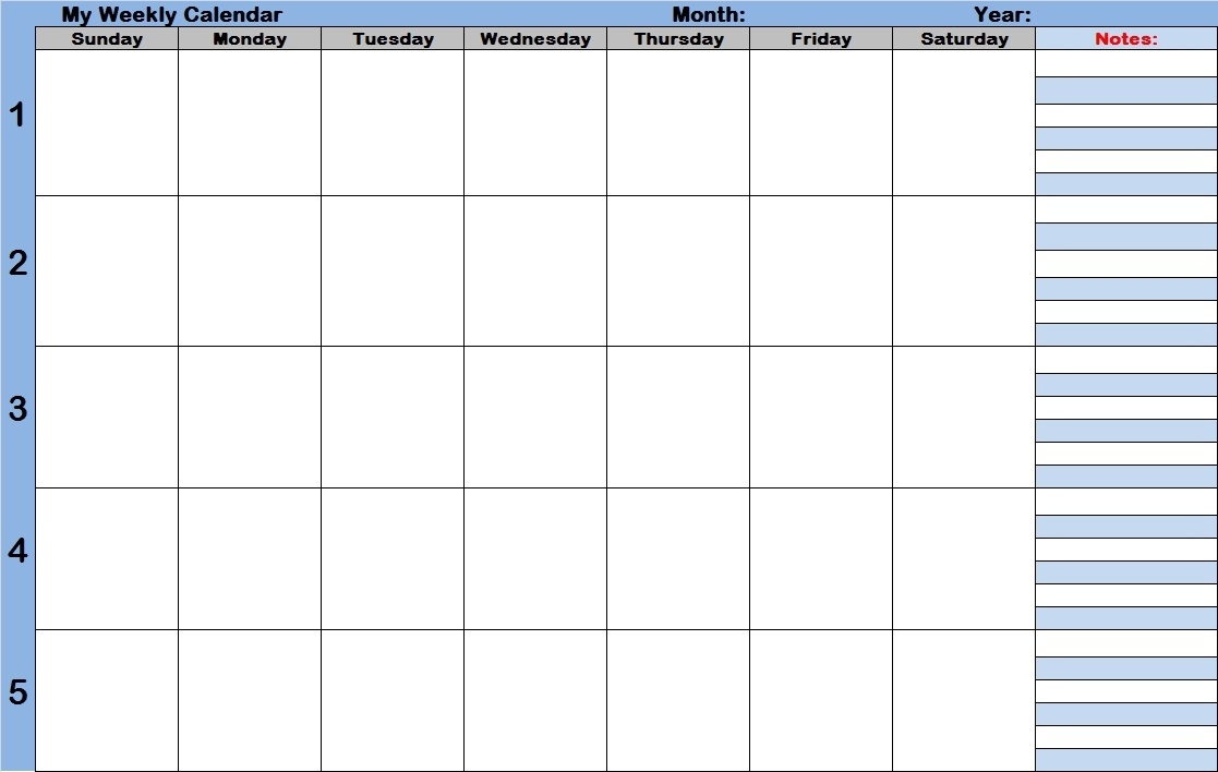 Monthly Calendar With Time Slots | Year Printable Calendar for Blank 7-Day Calendar With Time