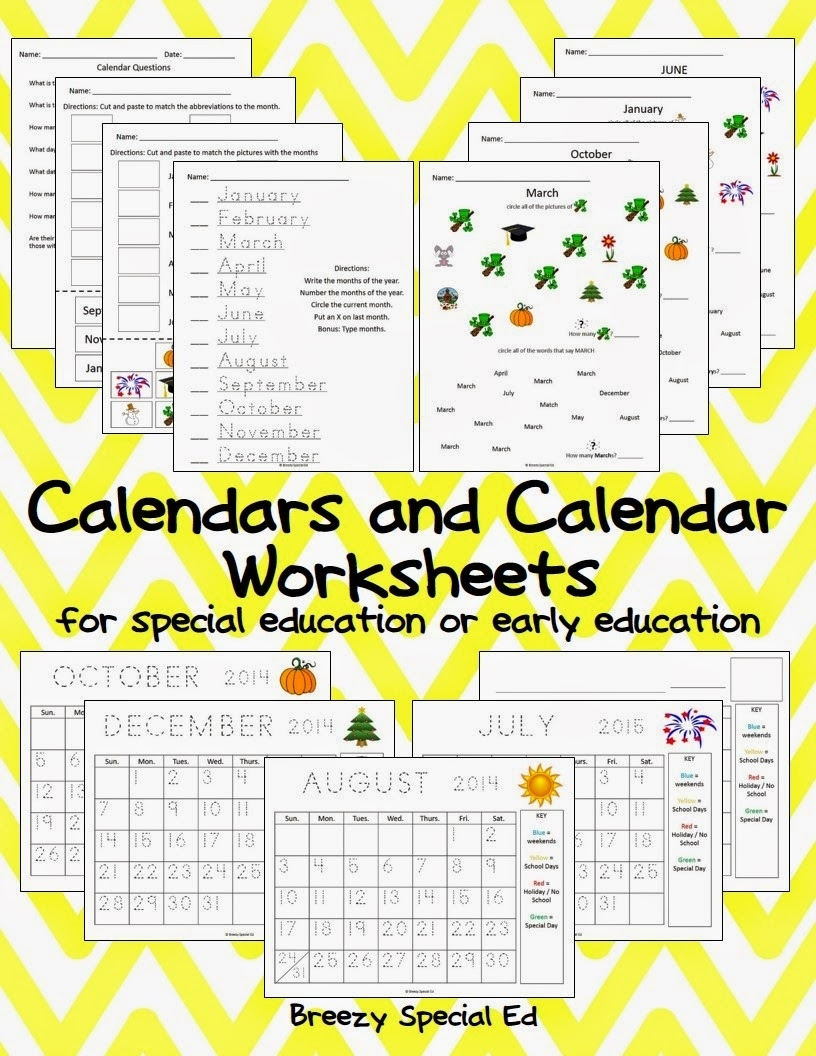 Monthly Calendar Worksheets + August Freebies! - Breezy Special Ed regarding Month Calendar Beginning On Monday