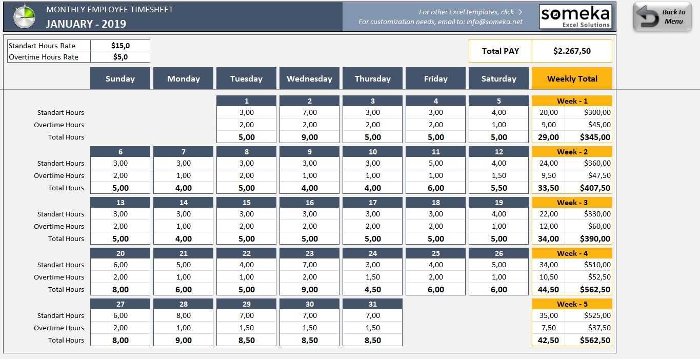 Monthly Employee Timesheet Template - Free & Printable Excel Template with regard to Excel 3 Month Staff Calendar Template