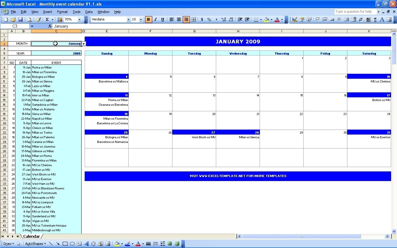 Monthly Event Calendar At Event Calendar Template Free - Free inside Template For Montlhy Calendar Of Events