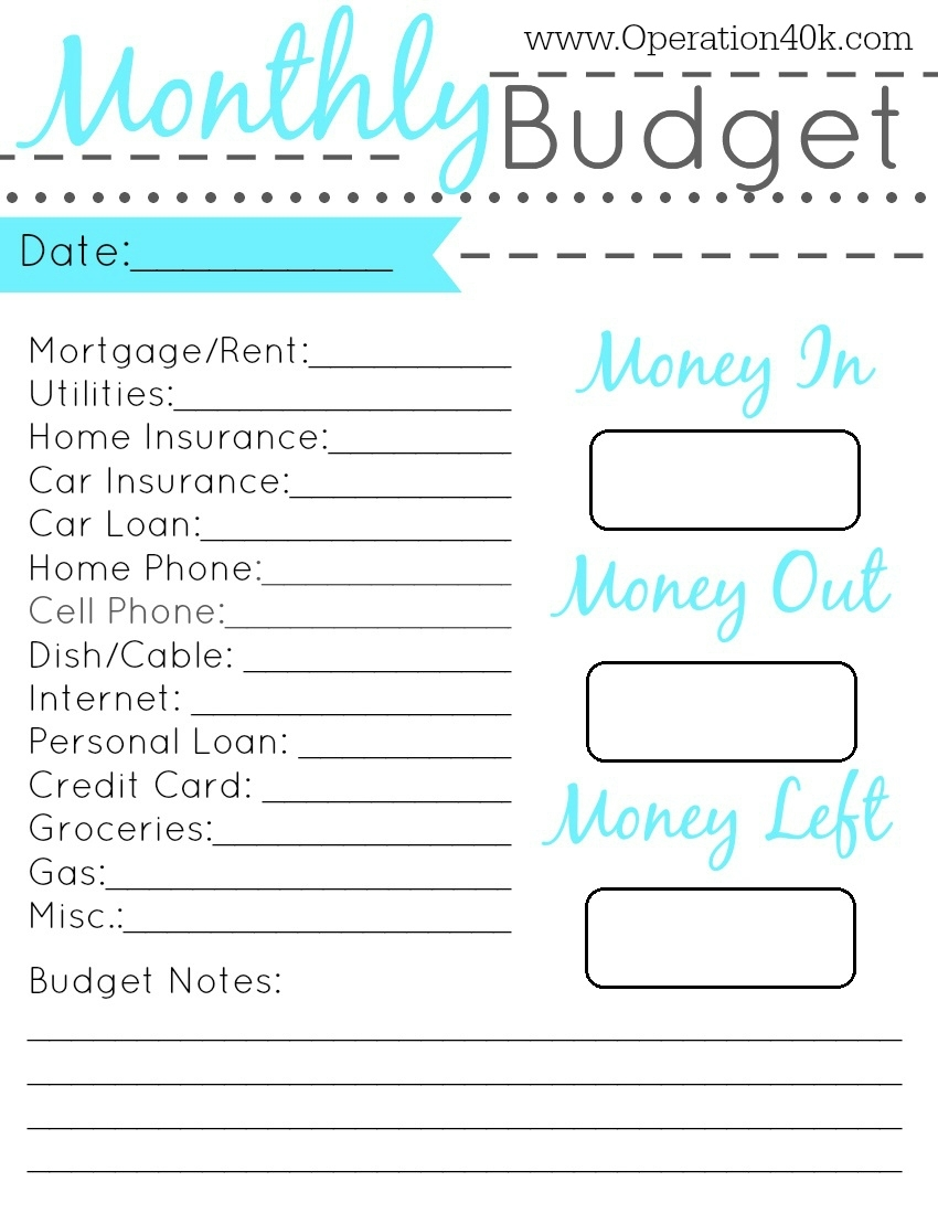 Monthly Expense Printable Monthly Budget Template | Camisonline throughout Free Printable Monthly Bill Templates