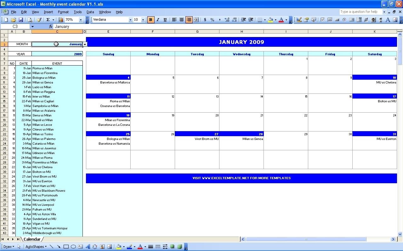 Monthly Meeting Schedule Template Excel Event Calendar Templates regarding Template For An Event Calendar