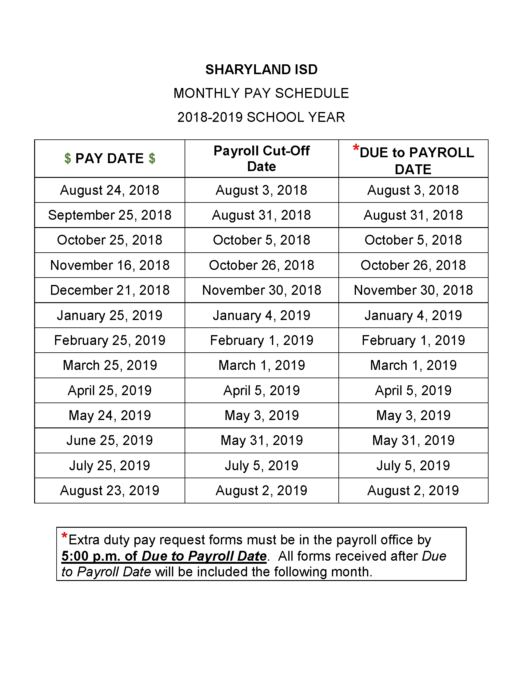 Monthly Pay Schedule - Sharyland Isd regarding Calendar Of Biweekly Pay Dates