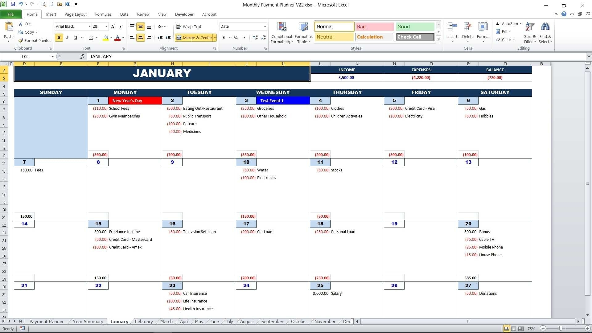 Monthly Payment Planner Calendar View2 With Monthly Bill Calendar with Monthly Bill Calendar For A Year