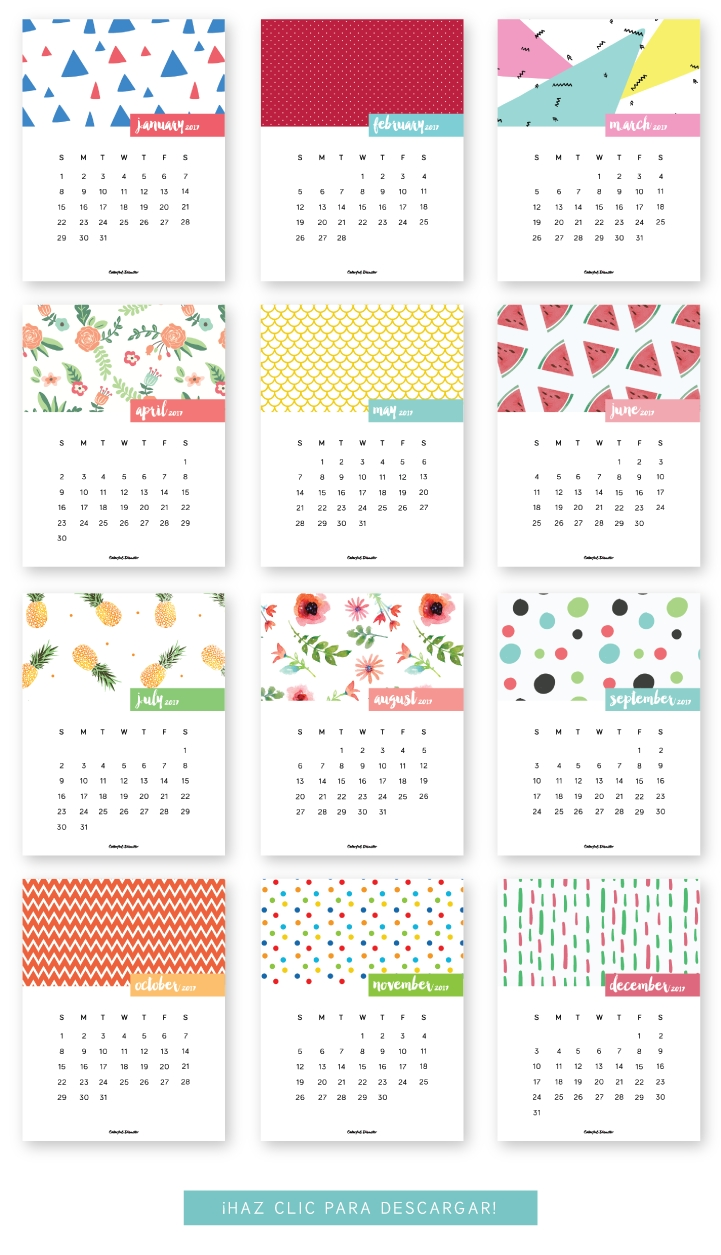 Monthly Printable Calendar 2017   2017 5X7 Printable Calendars Free with 12 Month Calendar Picture Ideas