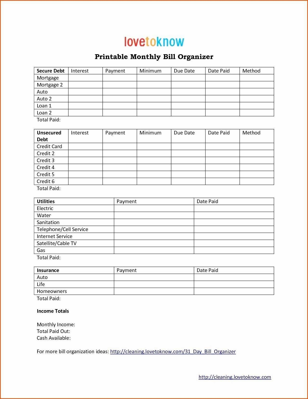 Monthly Profit And Loss Statement Template And Bill Pay Calendar regarding Printable Monthly Bill Organizer Template