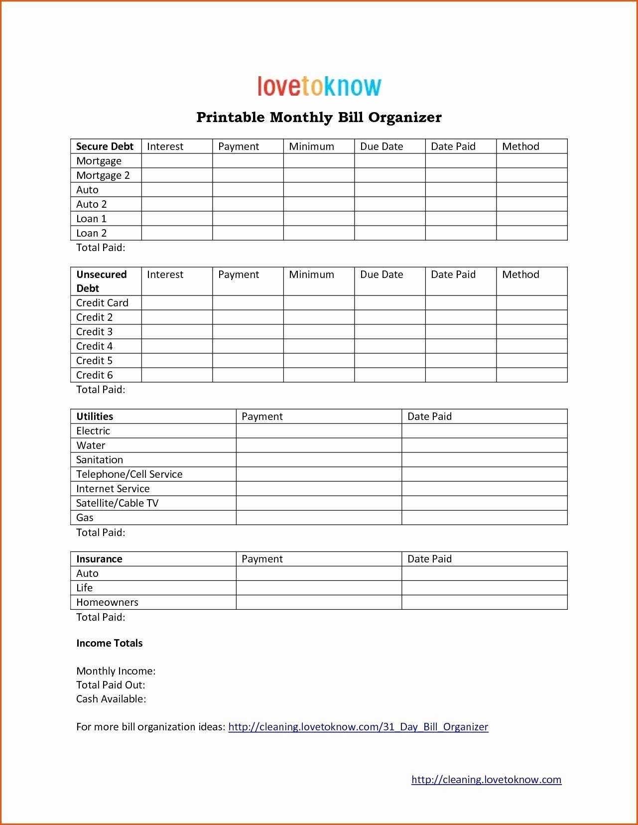Free Printables For Monthly Bills - Calendar Inspiration ...