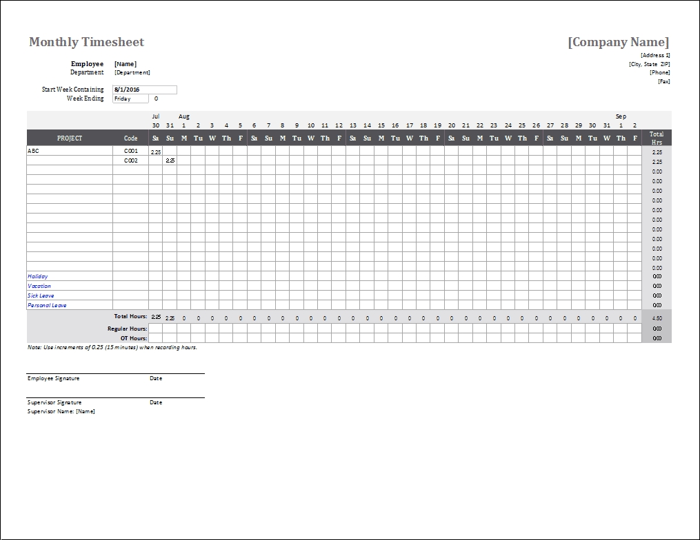 Monthly Timesheet Template For Excel And Google Sheets regarding Blank Monthly Holiday Sheet Template