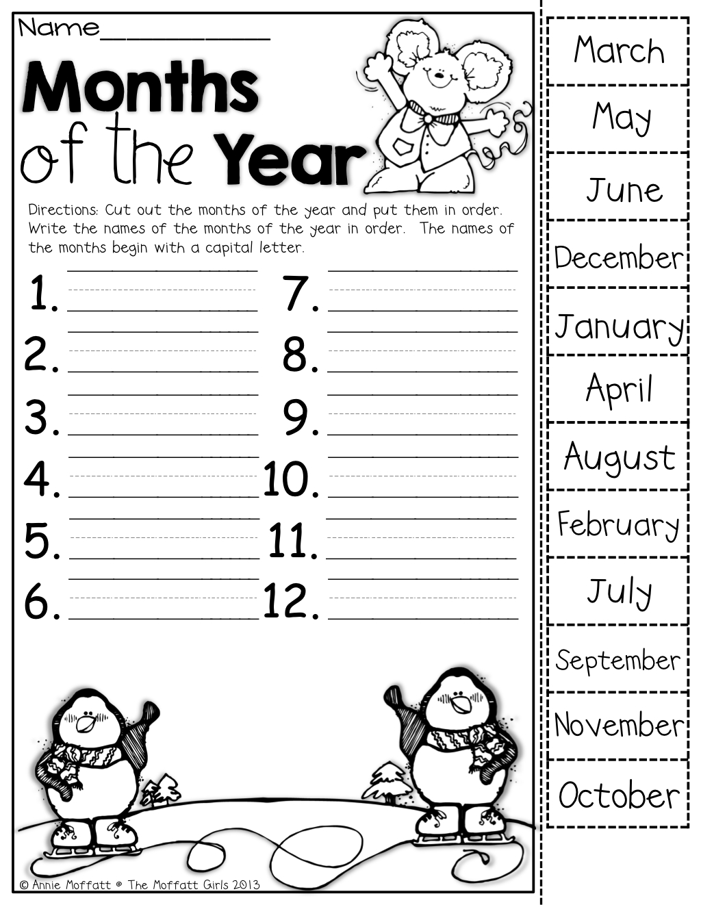Months Of The Year (Cut Out The Months, Put Them In Order And Write within July-December Writing Months Of The Year Worksheet