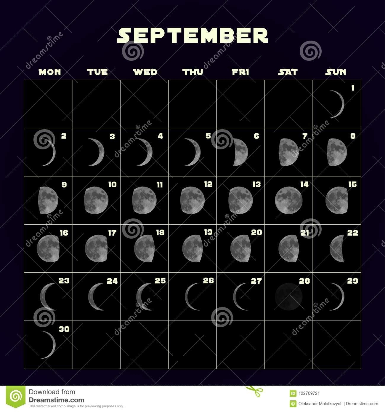 Moon Phases Calendar For 2019 With Realistic Moon. September. Vector pertaining to Phases Of The Moon Calendar