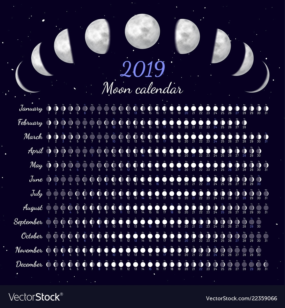 Moon Phases Calendar Royalty Free Vector Image pertaining to Phases Of The Moon Calendar