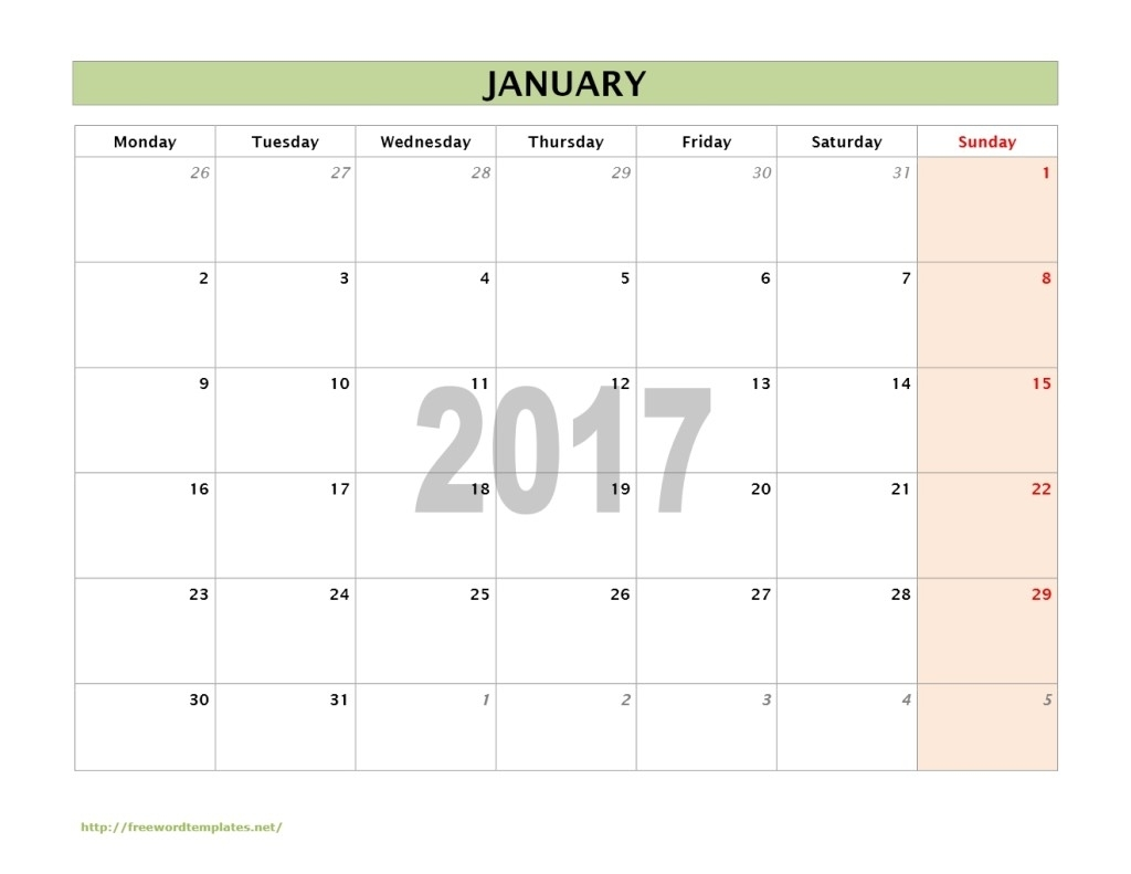 Ms Word Calendar 2017 in Monthly Calendar Template A3 Landscape