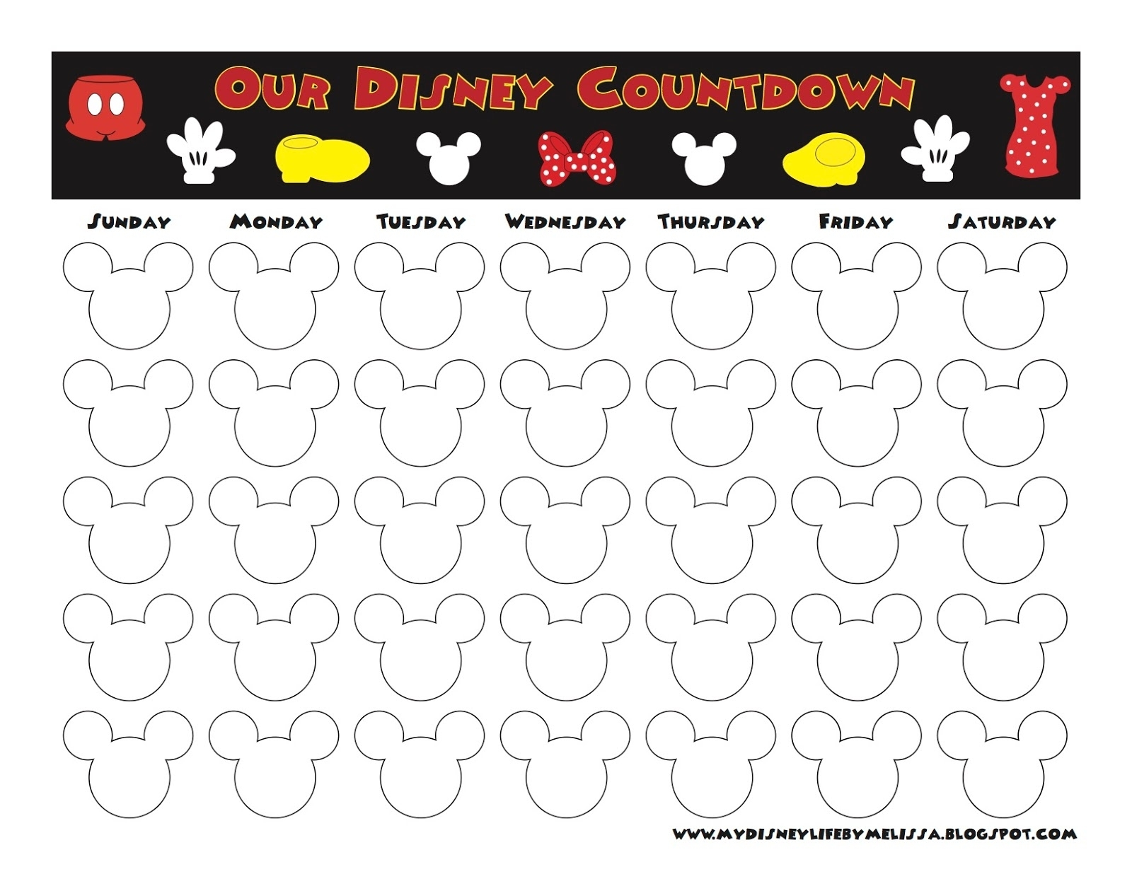 My Disney Life: Countdown Calendars within Disney Free Printable Monthly Calendar