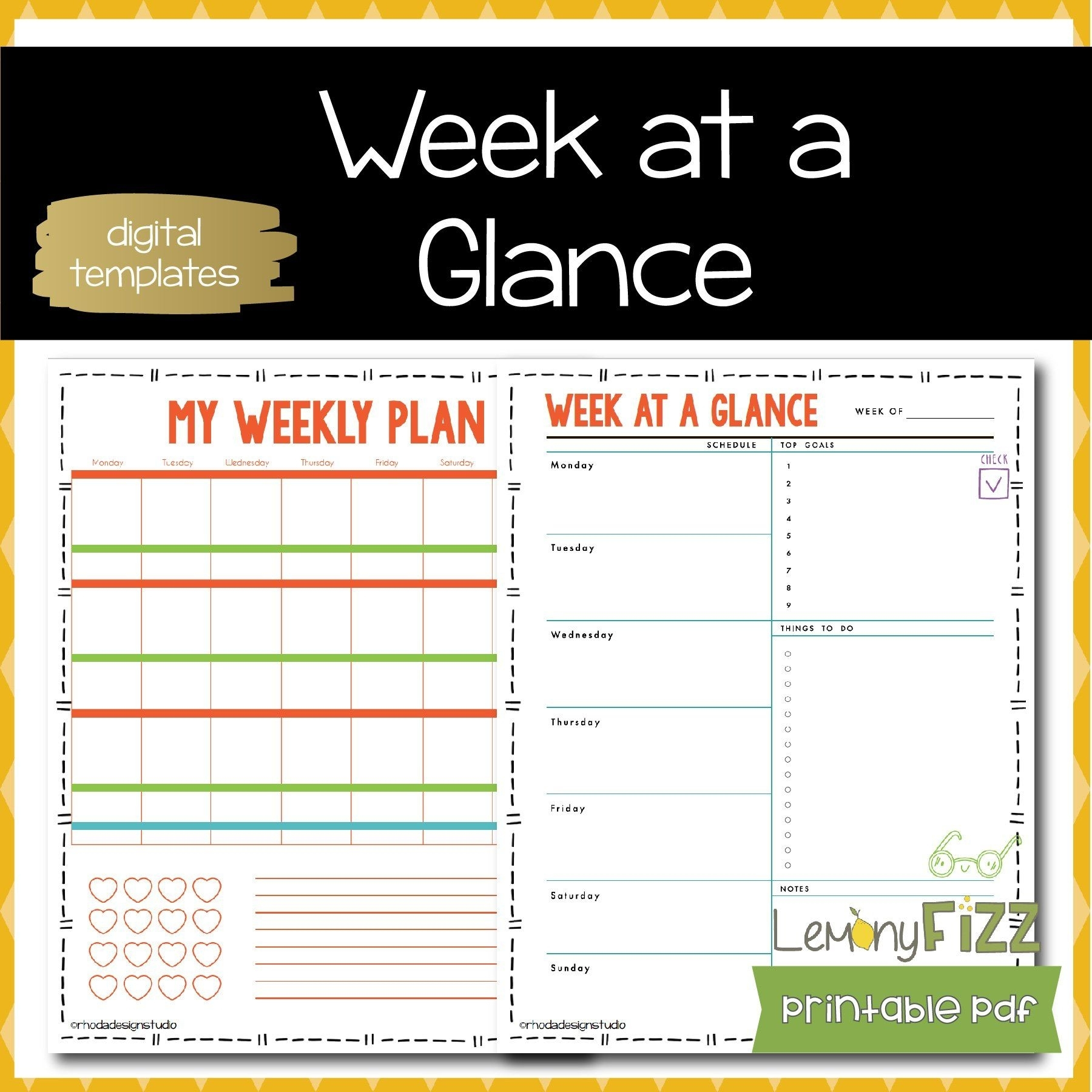 My Weekly Planner Template Schedule Free Templates For Excel | Smorad pertaining to Schedule At A Glance Template