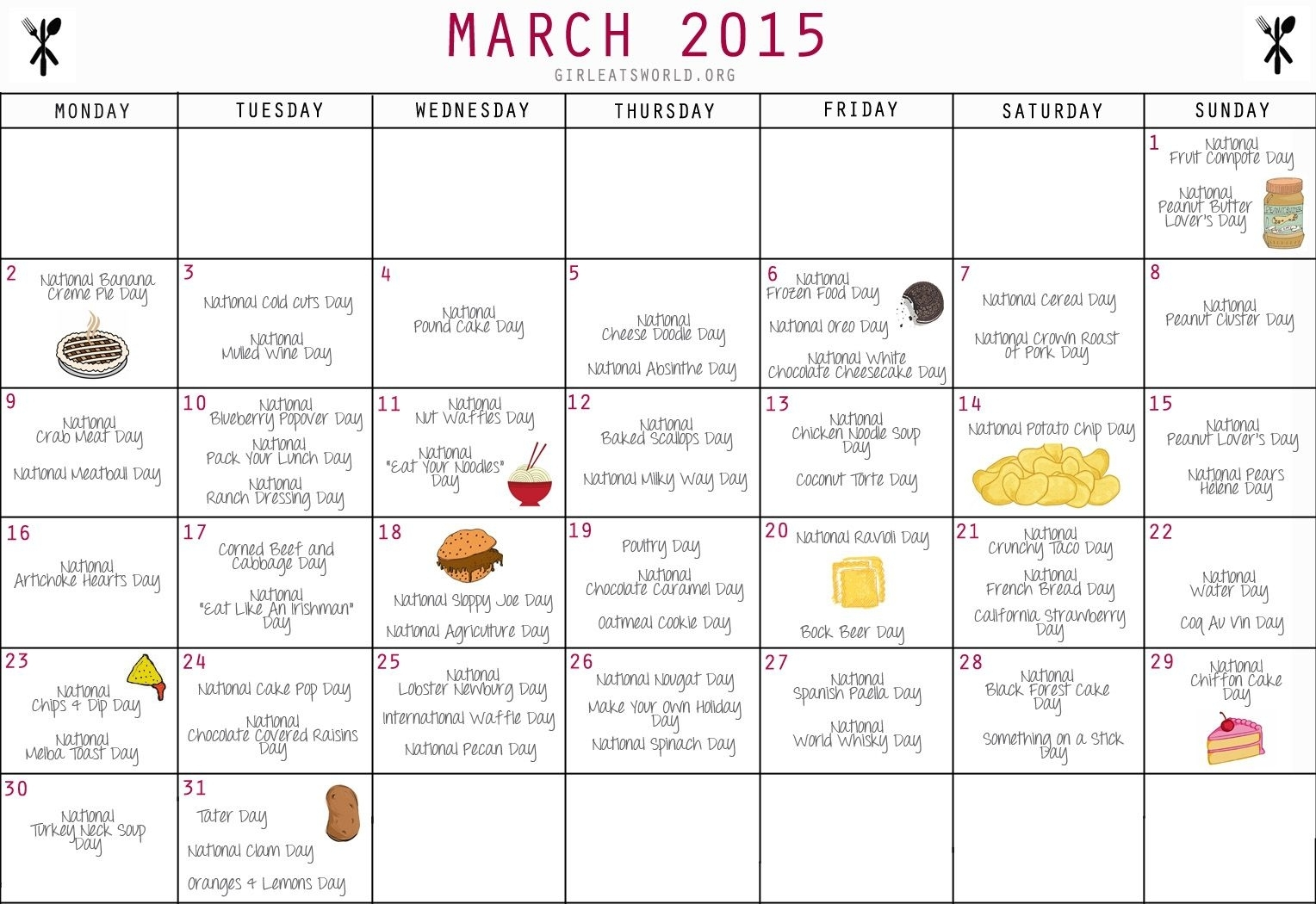 National Food Day Calendar Printable Printable Calendar 2018 intended for National Food Of The Day Calendar