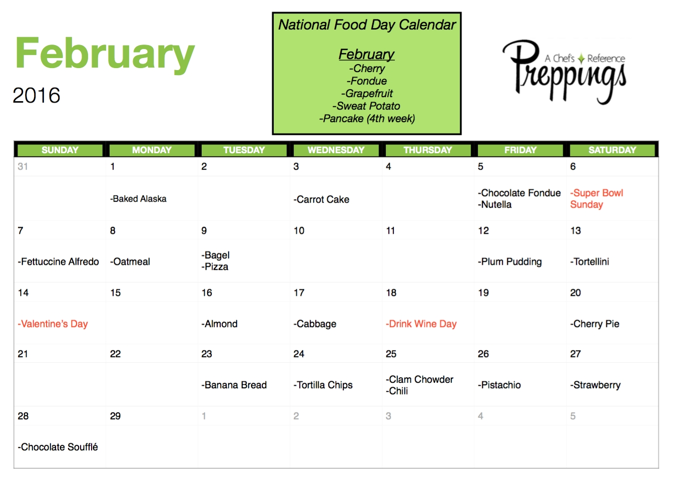 National Food Days Archives - Preppings with regard to Calender With National Food Days