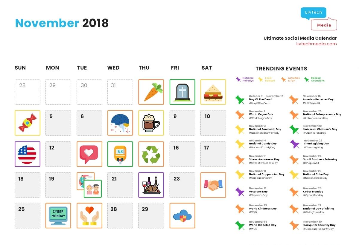Need Ideas? Here's The Ultimate Social Media Calendar For November with regard to Ideas For Calendar In November