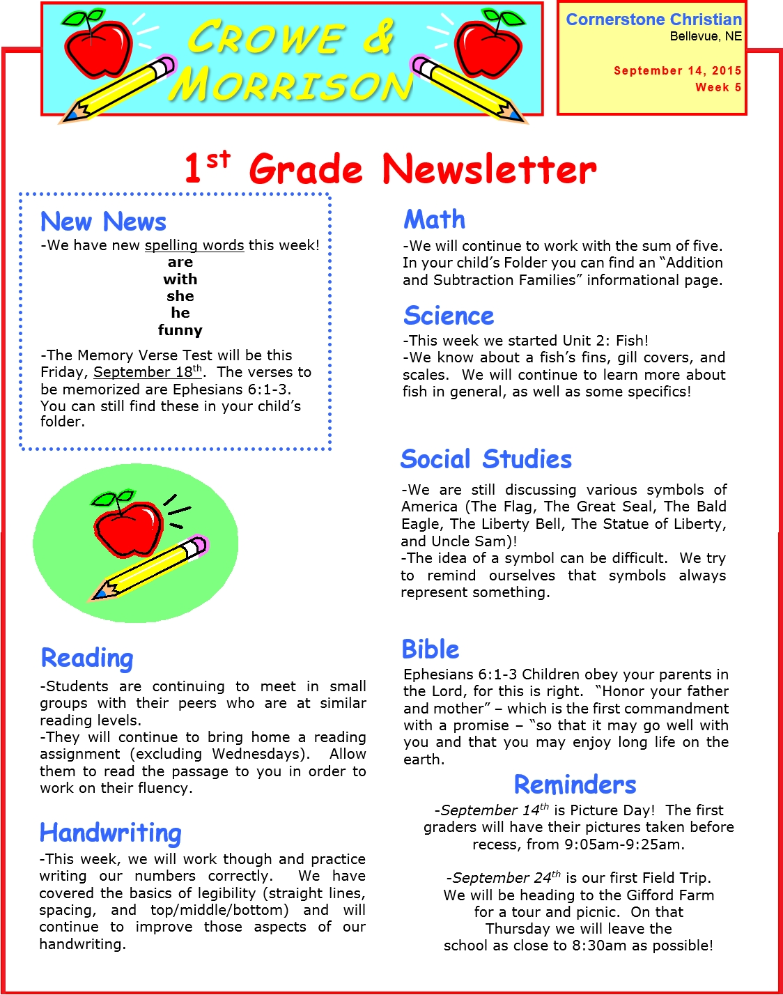 Newsletter Archives - Page 10 Of 11 - Cornerstone Christian School regarding 1St Grade Newsletters In 1St Grade