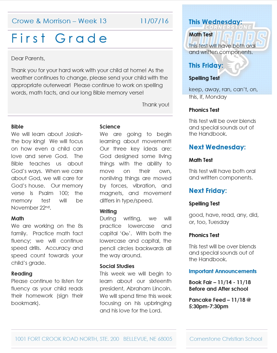 Newsletter Archives - Page 4 Of 11 - Cornerstone Christian School for 1St Grade Newsletters In 1St Grade