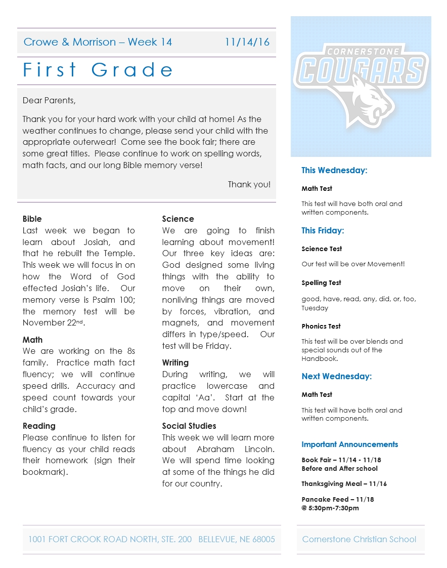 Newsletter Archives - Page 4 Of 11 - Cornerstone Christian School within 1St Grade Newsletters In 1St Grade