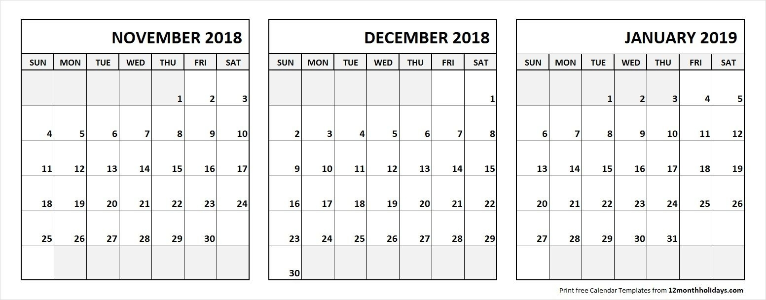 Nov Dec 2018 Jan 2019 Calendar Printable With Notes | 3 Month in Calendar Images From Jan To Dec