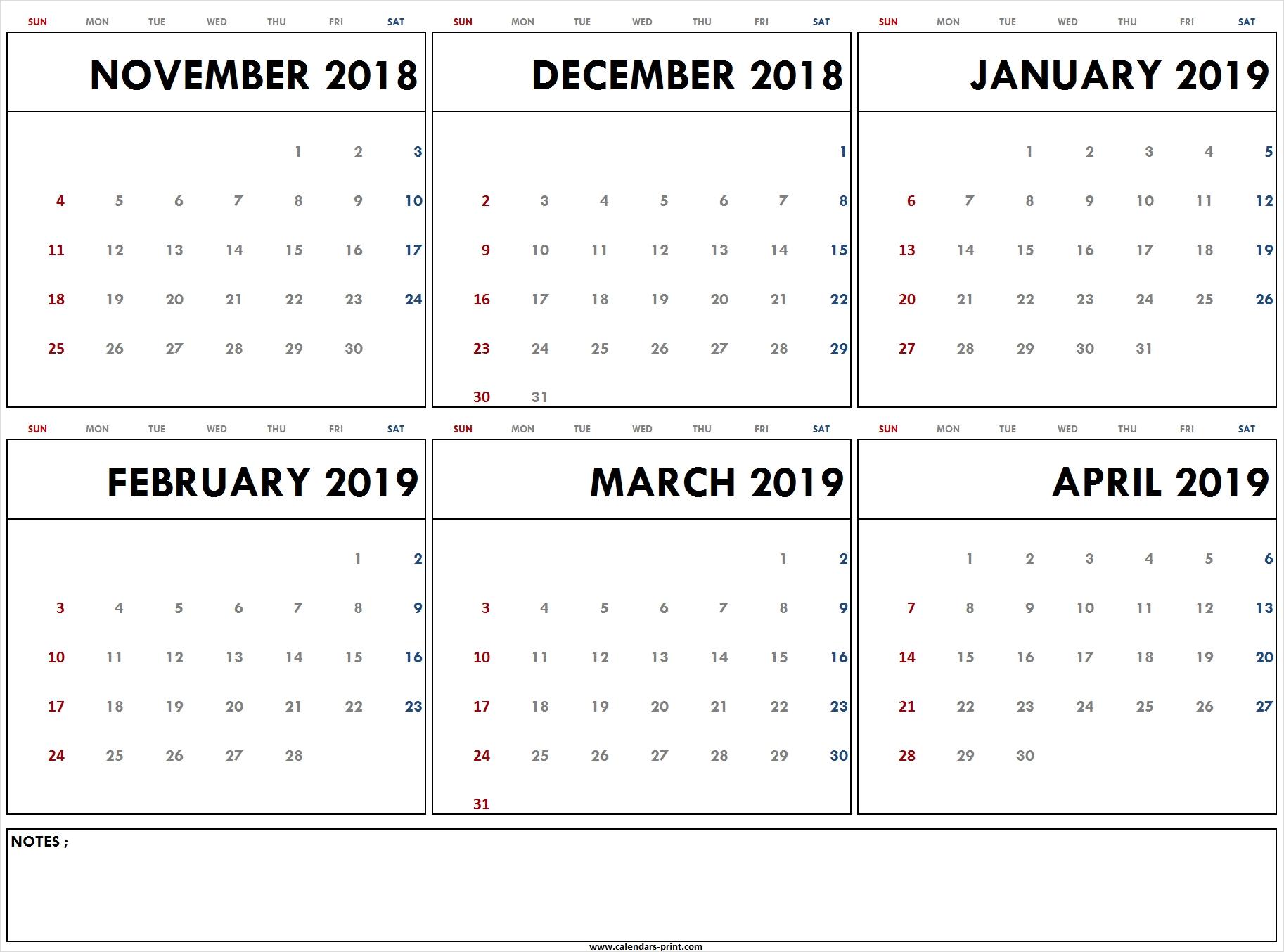 Nov Dec 2018 Jan Feb Mar Apr 2019 Calendar Template Archives in Calendar Images From Jan To Dec