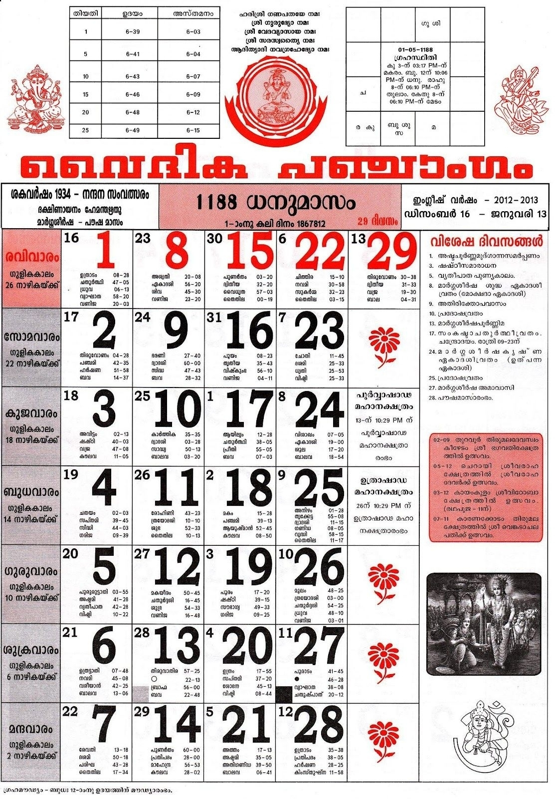 November 2015 Malayala Manorama Calendar | Calendar Format Example with November 2015 Malayala Manorama Calendar