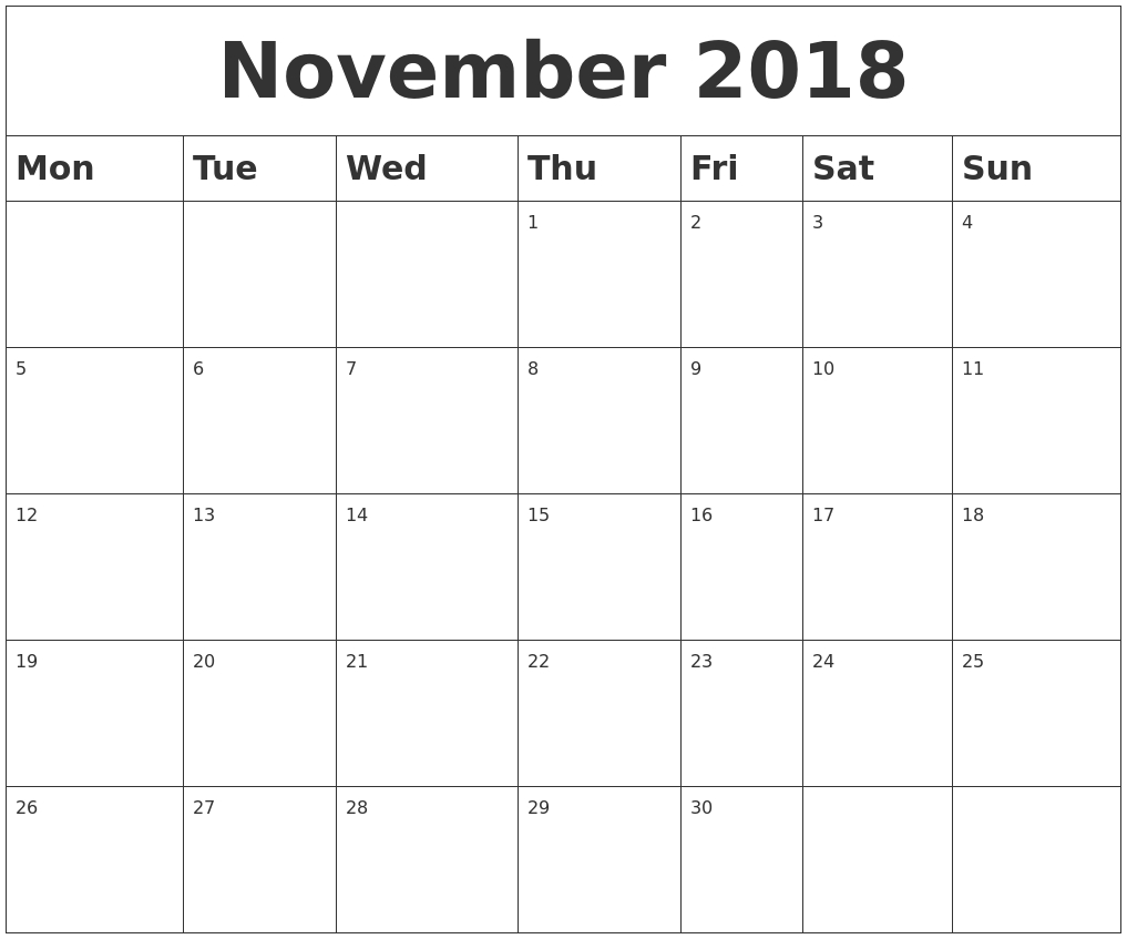 November 2018 Blank Calendar with Blank Calendar For November And December