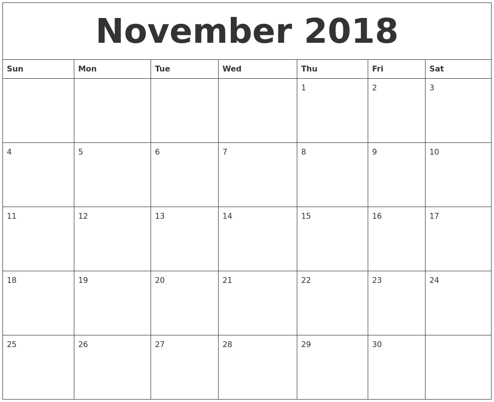 November 2018 Blank Monthly Calendar Template inside Blank Monthly Calendar Monday Start