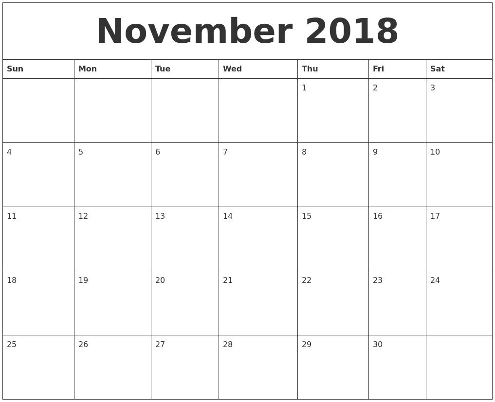 November 2018 Blank Monthly Calendar Template within Blank Monthly Calendar Printable Template