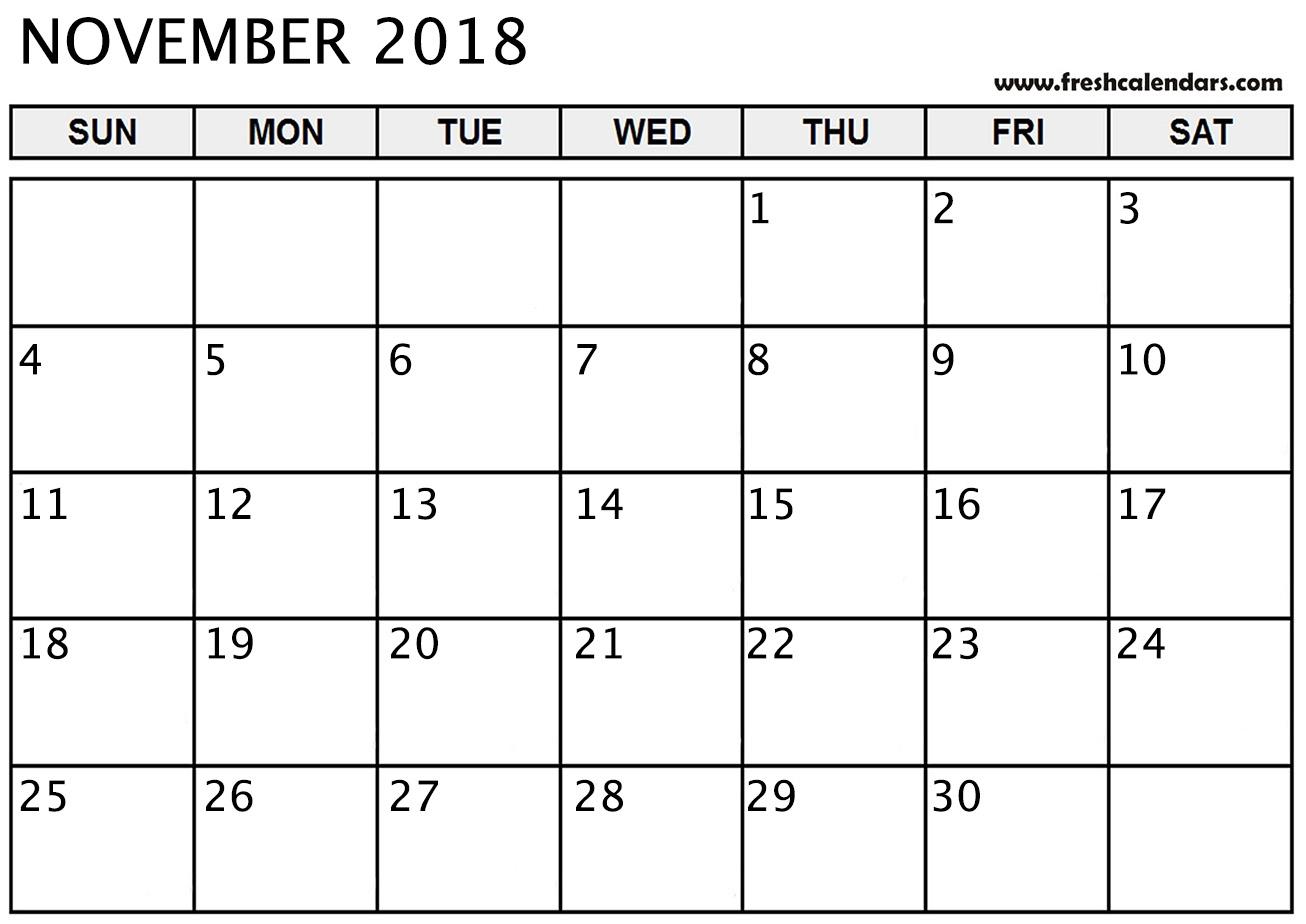 November 2018 Calendar Printable - Fresh Calendars for Large Blank Monthly Calendar To Fill In