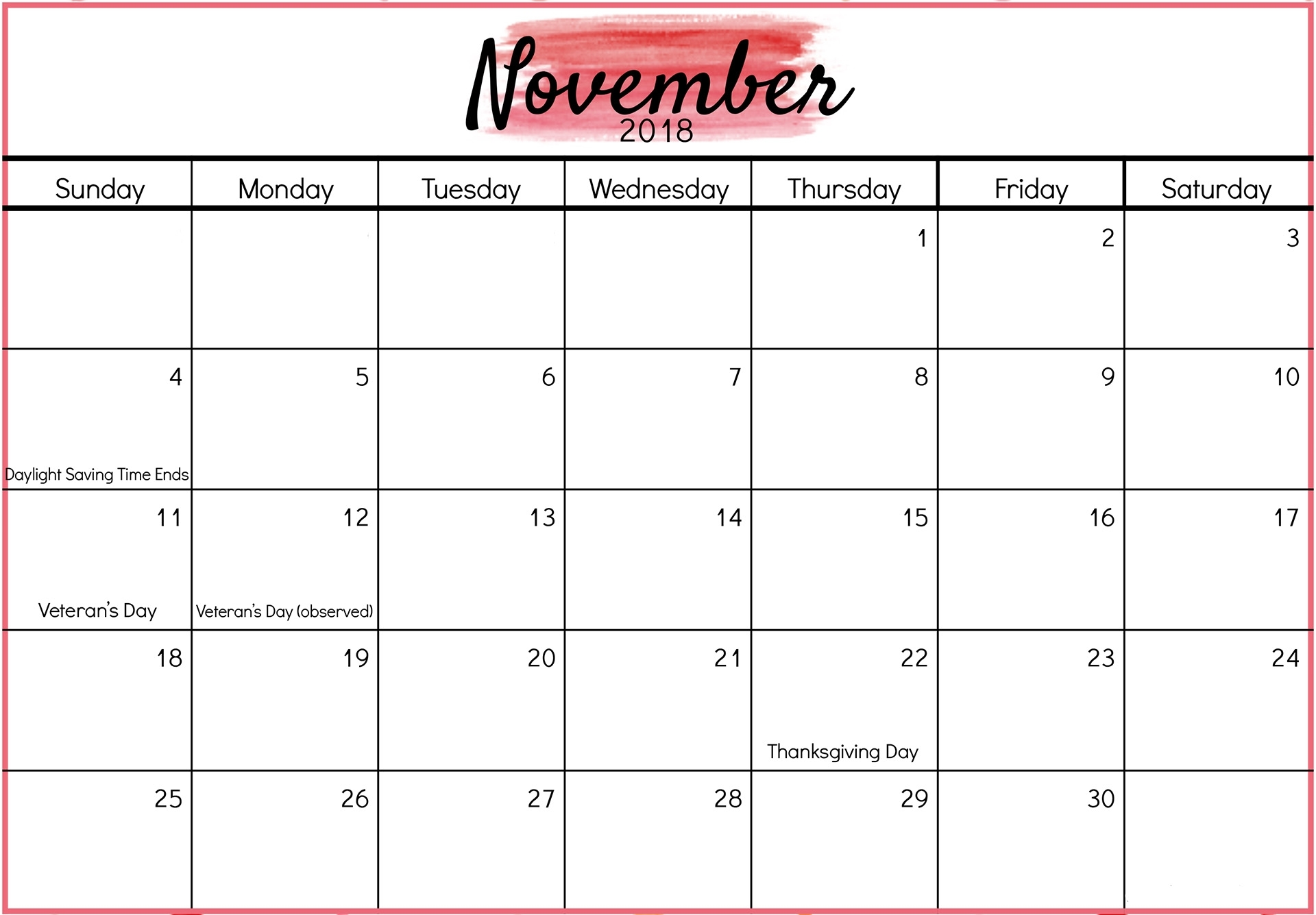 November 2018 Calendar Printable - Fresh Calendars within Blank Calendar For November And December