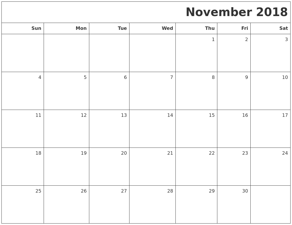November 2018 Printable Blank Calendar regarding Blank Calendar For November And December