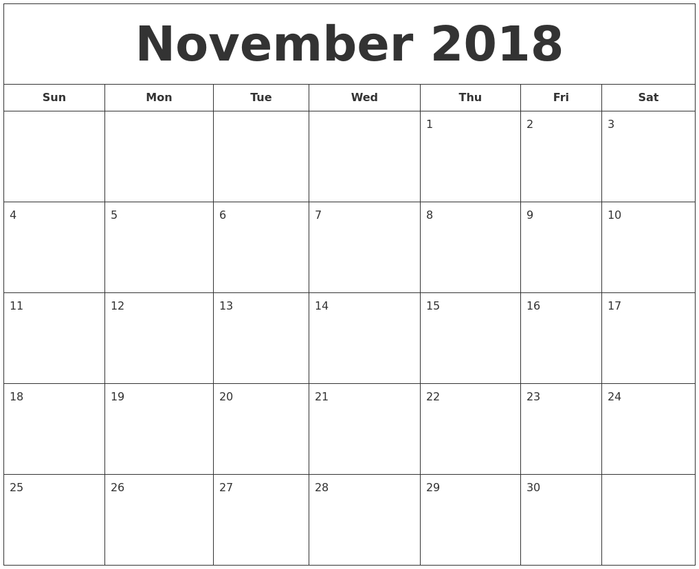 November 2018 Printable Calendar inside Print Calendar For October November December