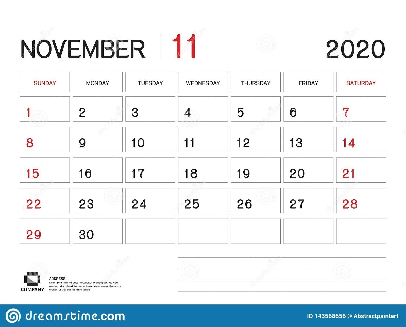 November 2020 Year Template, Calendar 2020 Vector, Desk Calendar in Blank Calendar 6 Weeks Start On Sunday
