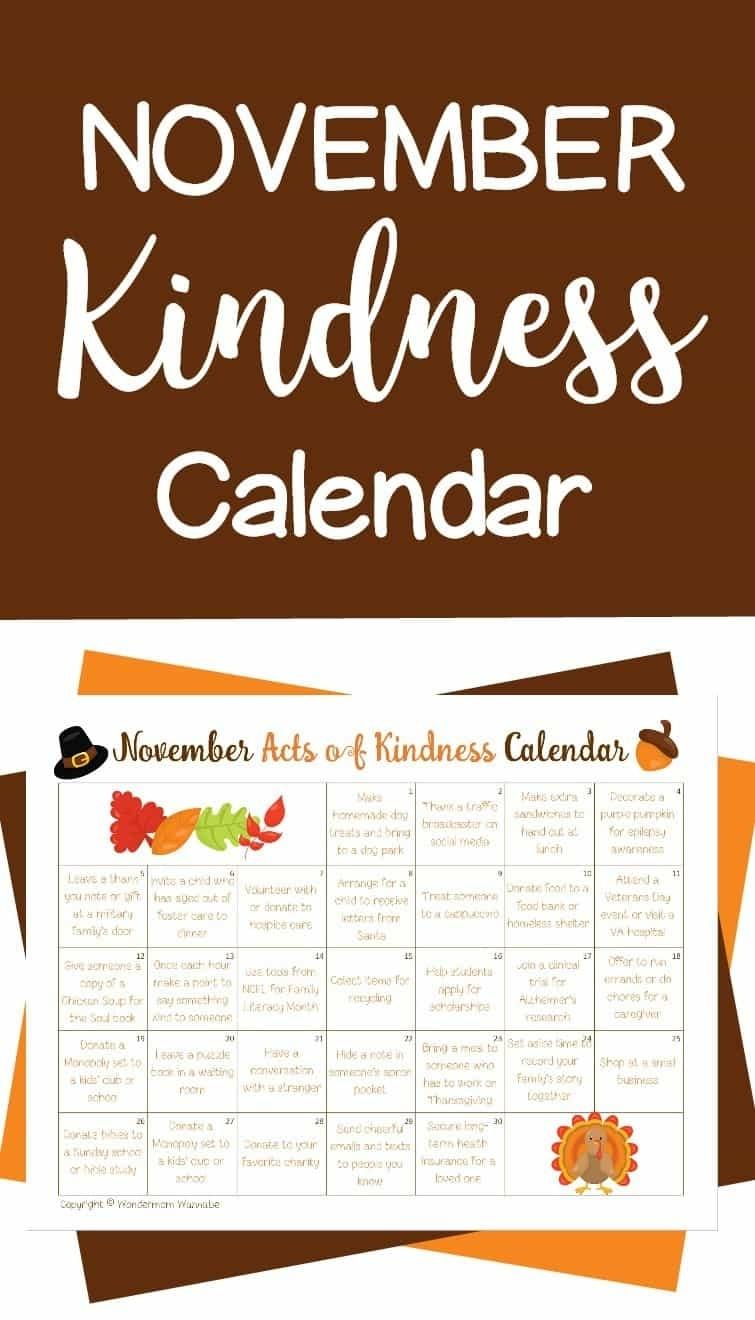 November Acts Of Kindness Calendar regarding Ideas For Calendar In November
