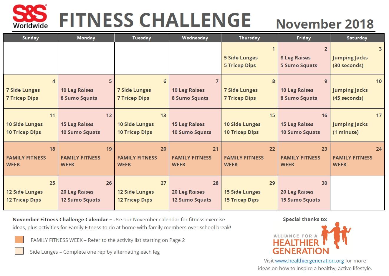 November Printable Fitness Challenge Calendar - S&s Blog intended for Ideas For Calendar In November