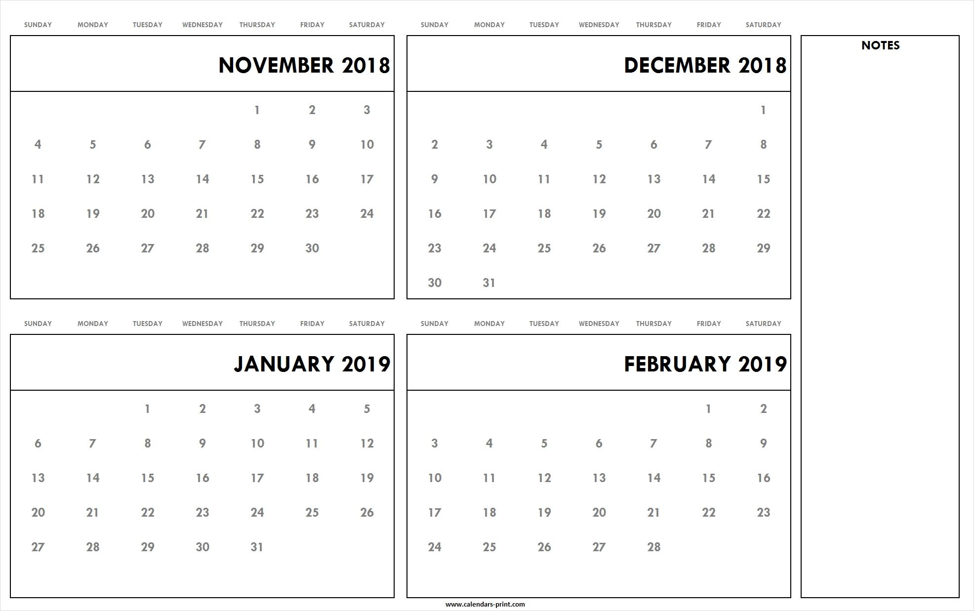 November To December 2018 January To February 2019 Calendar for Printable Nov Dec 17 Calendar