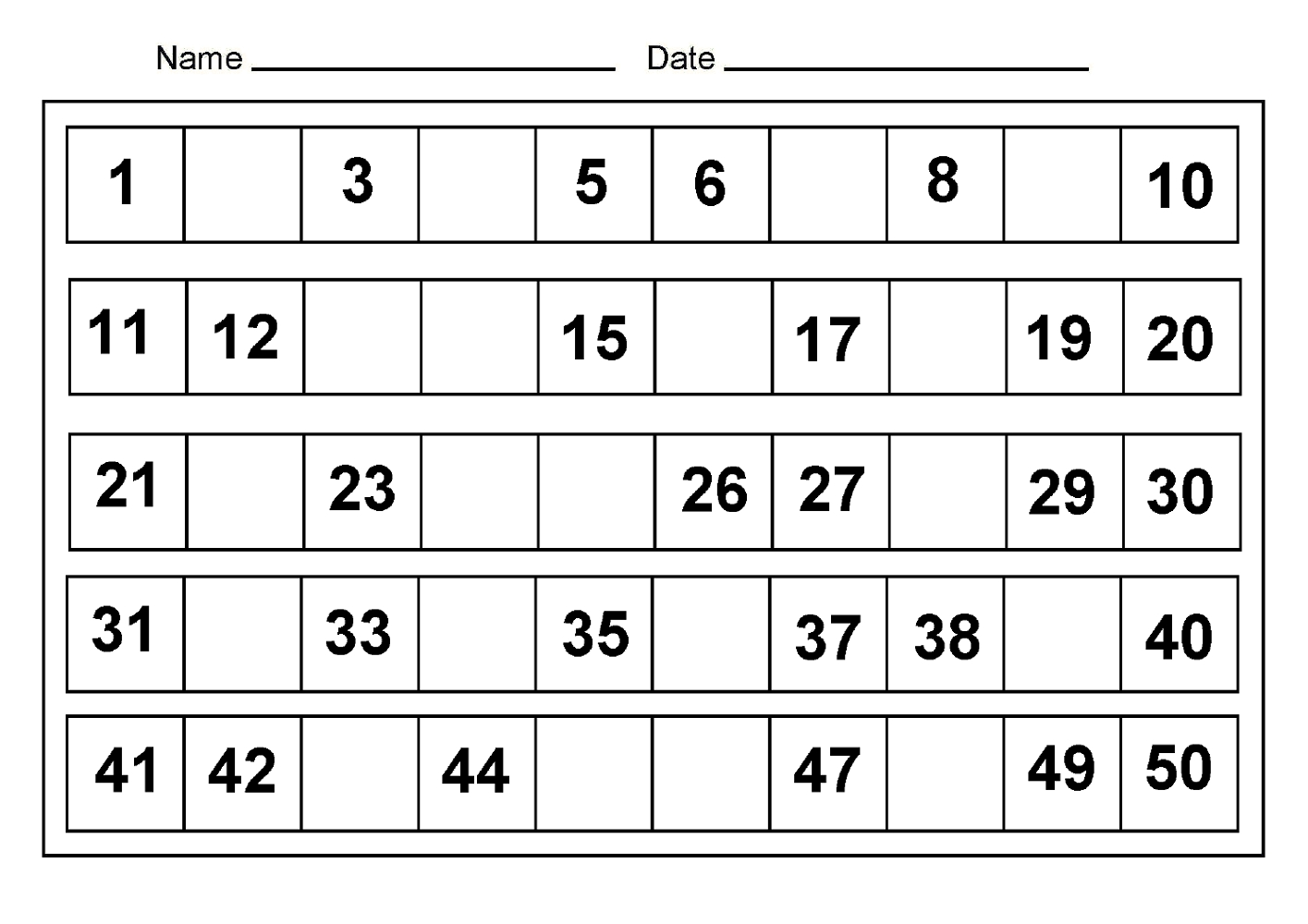 Number Charts 1-50 To Print | Activity Shelter regarding Printable Preschool Numbers 1 31