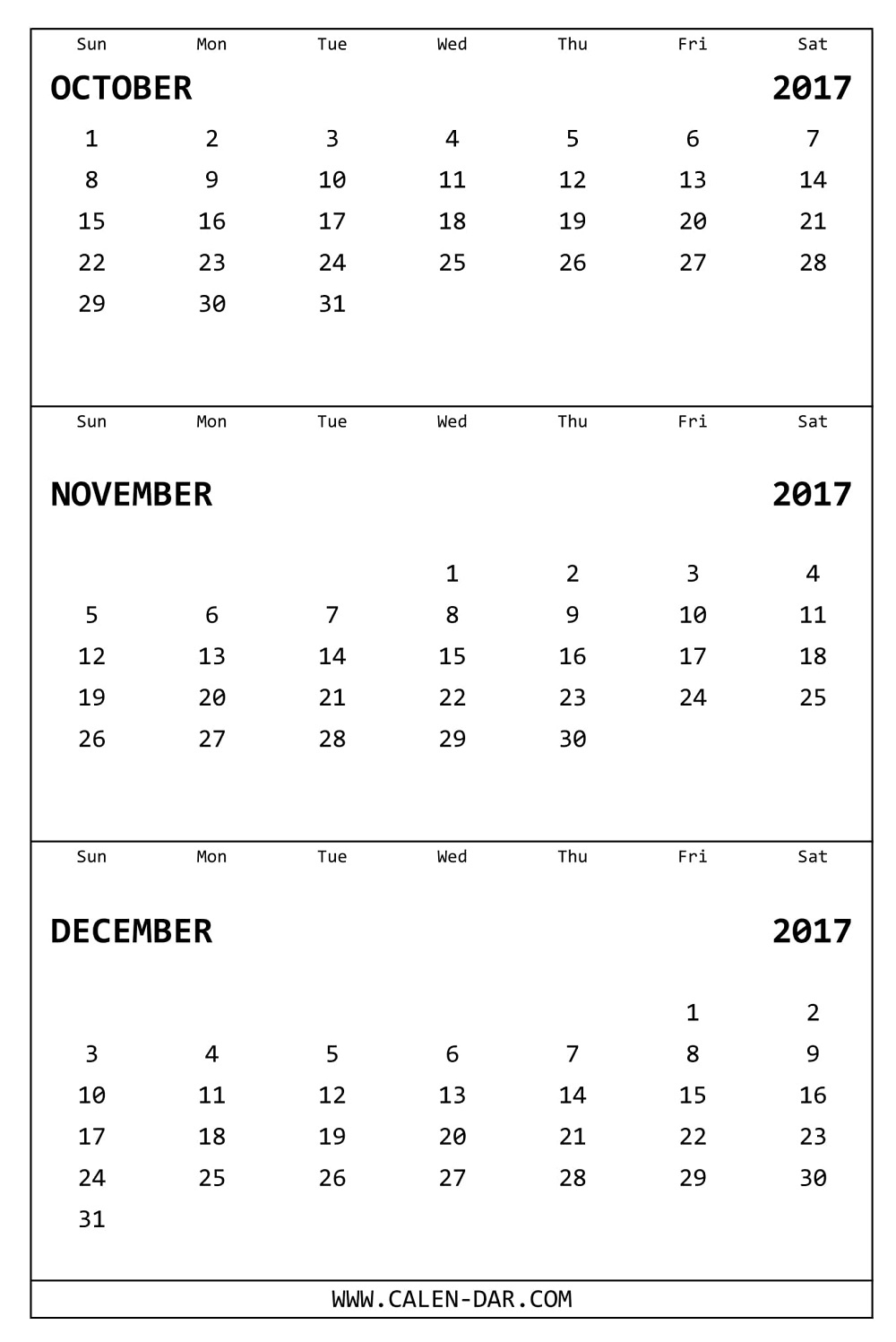 Oct Nov Dec 2017 Calendar Printable | Free 3 Months Calendar Template with Month Calendar Printable Sept Oct Nov Dec