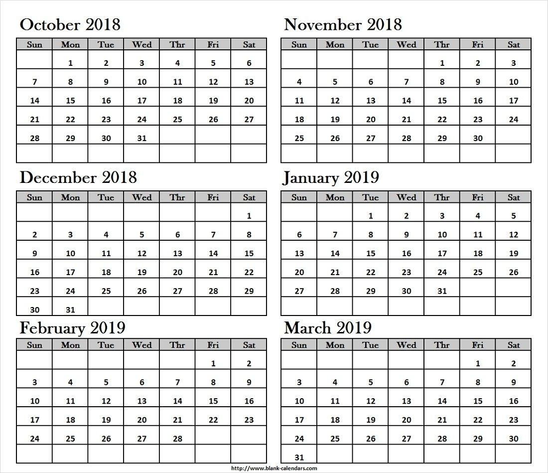 Oct Nov Dec 2018 Jan Feb Mar 2019 Calendar Printable | October 2018 pertaining to Calendar Images From Jan To Dec