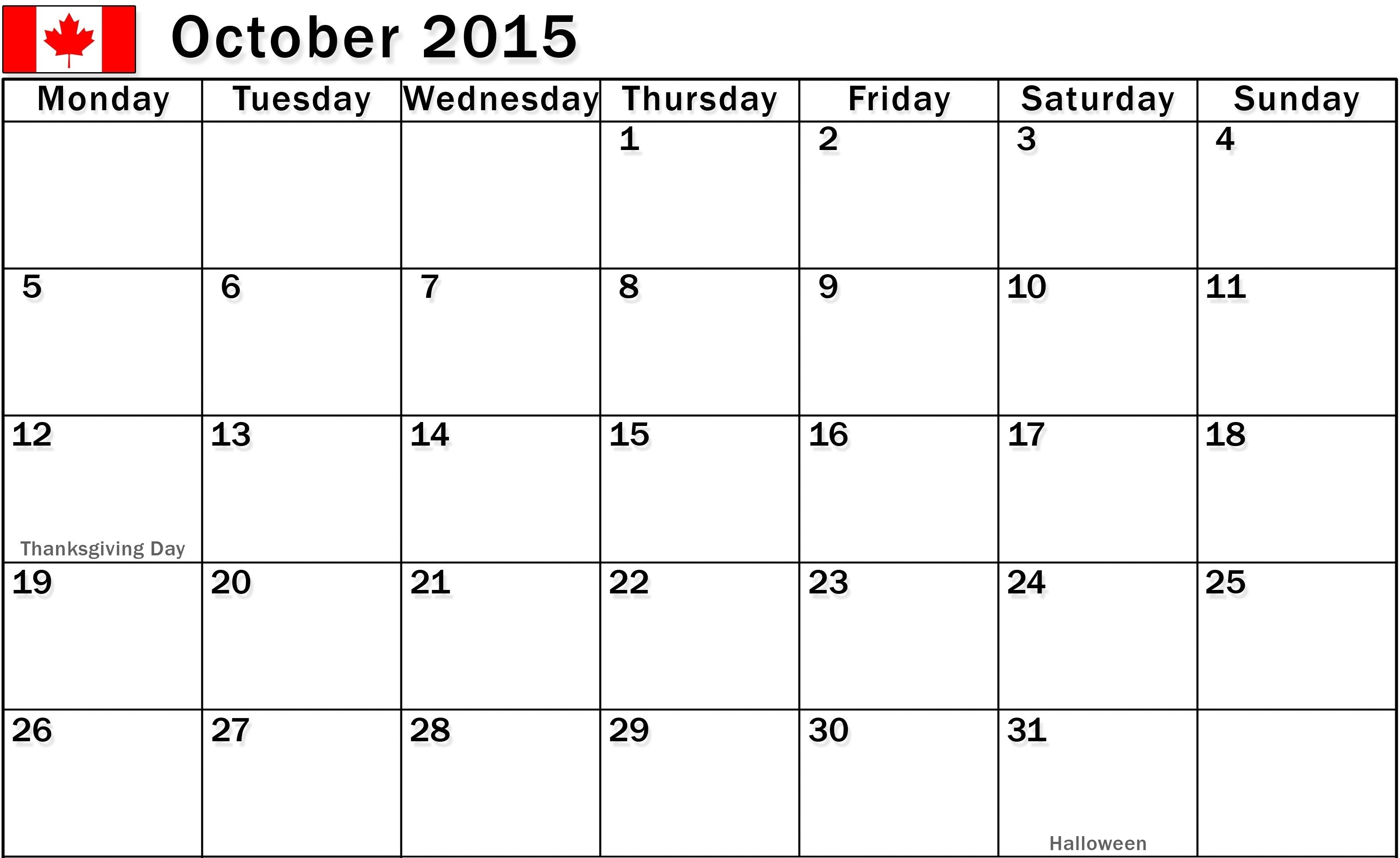 October 2015 Calendar Fillable, Printable Pdf Pictures, Images throughout Fillable Monthly Calendar December 2015