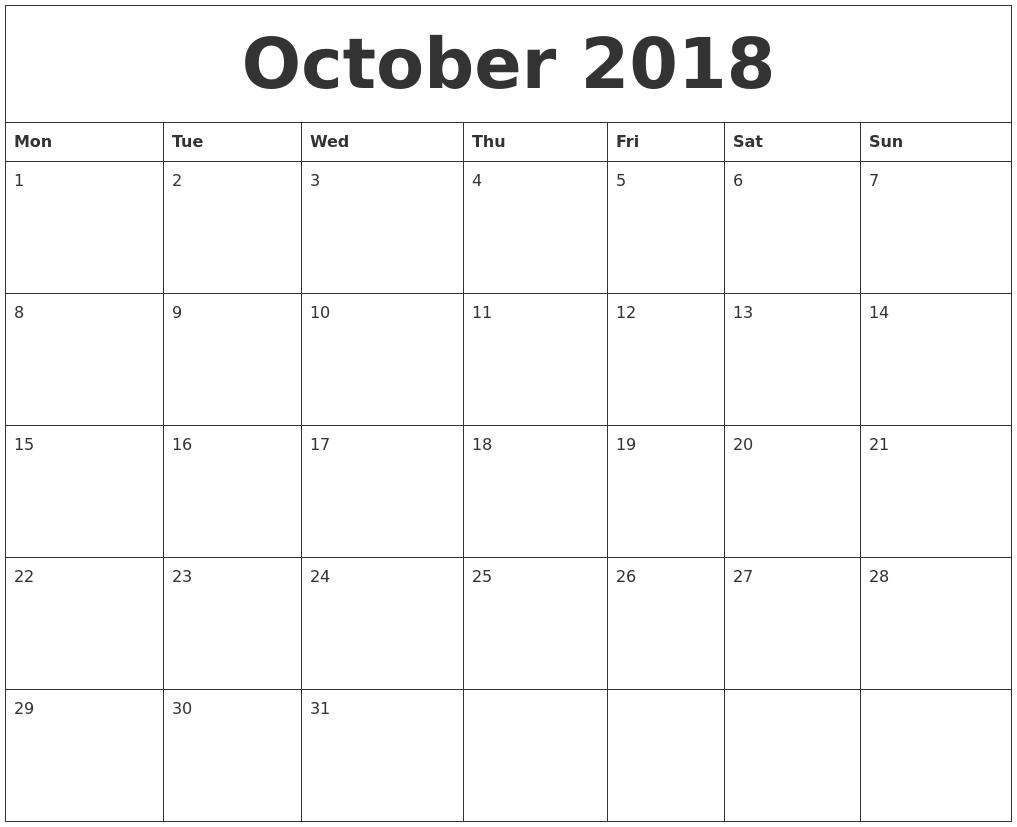 October 2018 Blank Monthly Calendar Template inside Blank Monthly Calendar Print Out