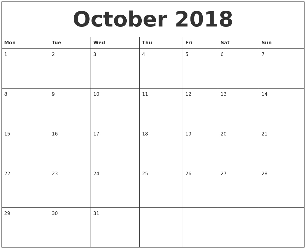 October 2018 Blank Monthly Calendar Template regarding Blank Monthly Calendar Template Pdf